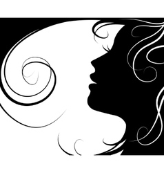 silhouette of a beautiful girl vector image