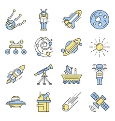 Space Line Icon Set In Color vector image vector image