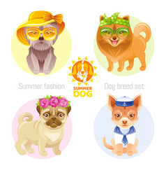 Summer fashion puppy dog icon set in sweet retro vector