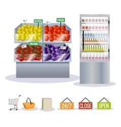 Supermarket fruits vegetables vector