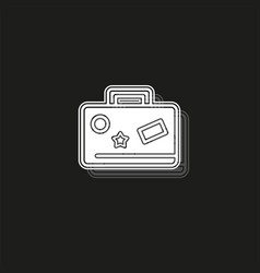 travel bag icon - suitcase with stickers travel vector image