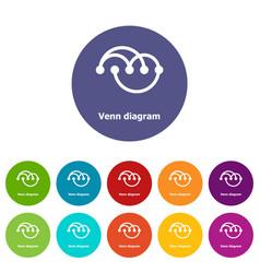 Venn diagramm icons set color vector