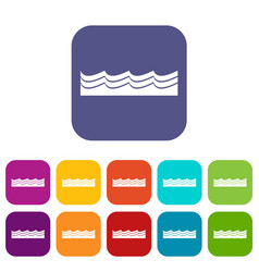 Water icons set flat vector