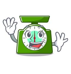 Waving kitchen scale character cartoon vector