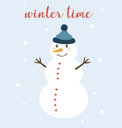 winter card with cute snowman vector image