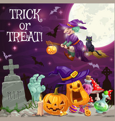 witch halloween pumpkins zombie at cemetery vector image
