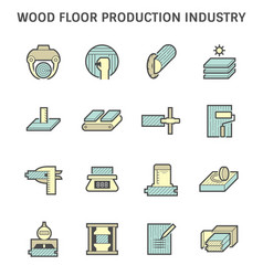 Wood floor production industry and wood testing vector