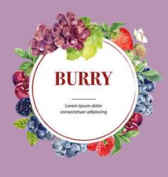 Wreath design with circle frame creative purple vector