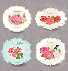 collection retro label with lovely roses vector image vector image