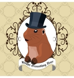 Groundhog day greeting card with cute marmot in vector