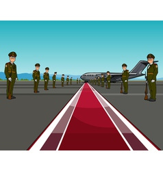 Men in uniform standing on opposite sides of the vector
