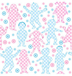 patchwork with kids and buttons vector image vector image