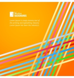 Rainbow lines over orange background vector image vector image
