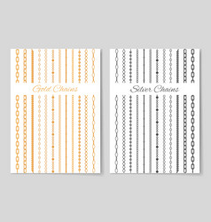silver and gold chains promotional posters set vector image vector image
