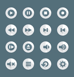 flat style various media player icons set vector image vector image