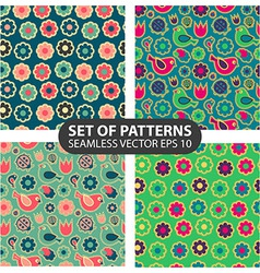 set of 4 seamless patterns vector image vector image