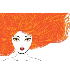 Attractive girl with red hair vector image