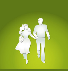 couple man and woman with flowers walking vector image vector image