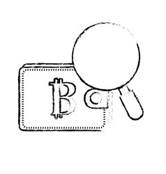 Figure bitcoin symbon in the wallet with vector