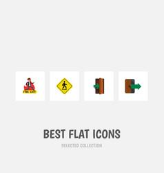 flat icon door set of emergency entrance vector image vector image