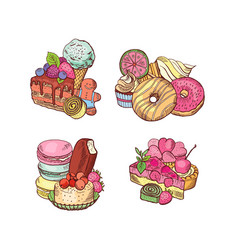 hand drawn sweets piles set vector image vector image