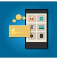 mobile commerce online credit card smart phone vector image vector image