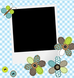 Scrapbook baby boy design with photo frame and vector image vector image