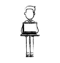 Cartoon man standing holding laptop front view vector