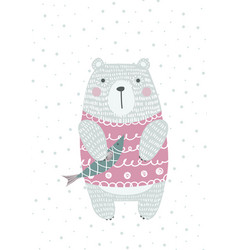 hand drawn funny cute bear with fish vector image vector image