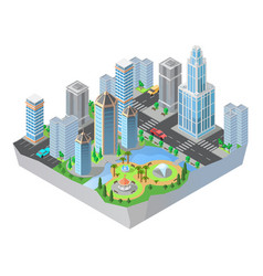 3d isometric city cityscape map of town vector