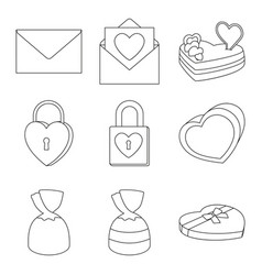 9 line art black and white valentine elements vector