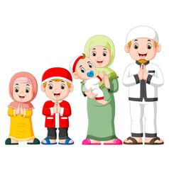 a happy family are celebrating ied mubarak vector image