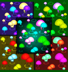 abstract glowing mushrooms seamless pattern vector image