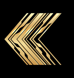 Abstract gold circuit arrow direction on black vector