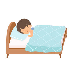 Adorable little boy sleeping sweetly in his bed vector