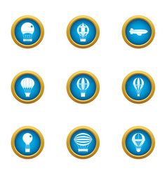 air balloon ride icons set flat style vector image