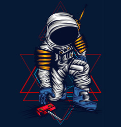 Astronaut take sacred geometry vector