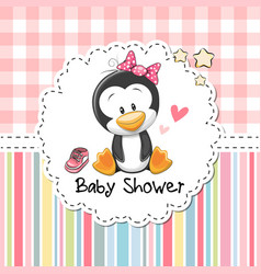 Baby shower greeting card with penguin vector
