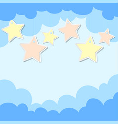 Background design with colorful stars on blue vector