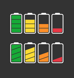 battery icon set isolated on black background vector image