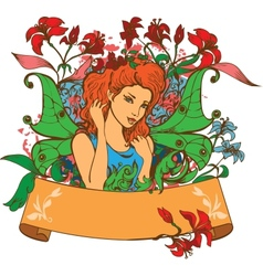 Beautiful Fairy among flowers vector