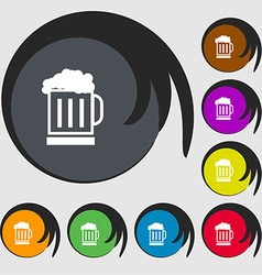 Beer glass icon sign Symbols on eight colored vector image