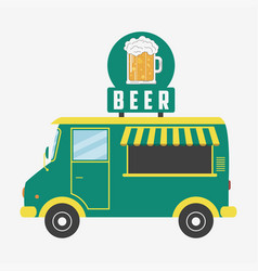beer truck pub van with glass beer and foam vector image