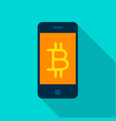 Bitcoin mobile flat icon vector
