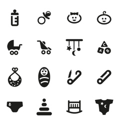 Black baby icon set vector