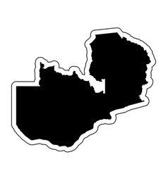 black silhouette of the country zambia with the vector image