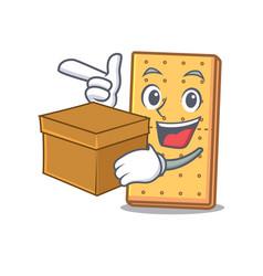 Box graham cookies character cartoon vector