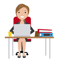 Business woman sitting at his desk with a laptop vector