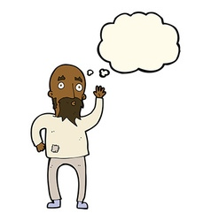 Cartoon bearded man waving with thought bubble vector