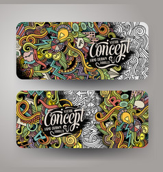 Cartoon hand drawn doodles idea banners vector